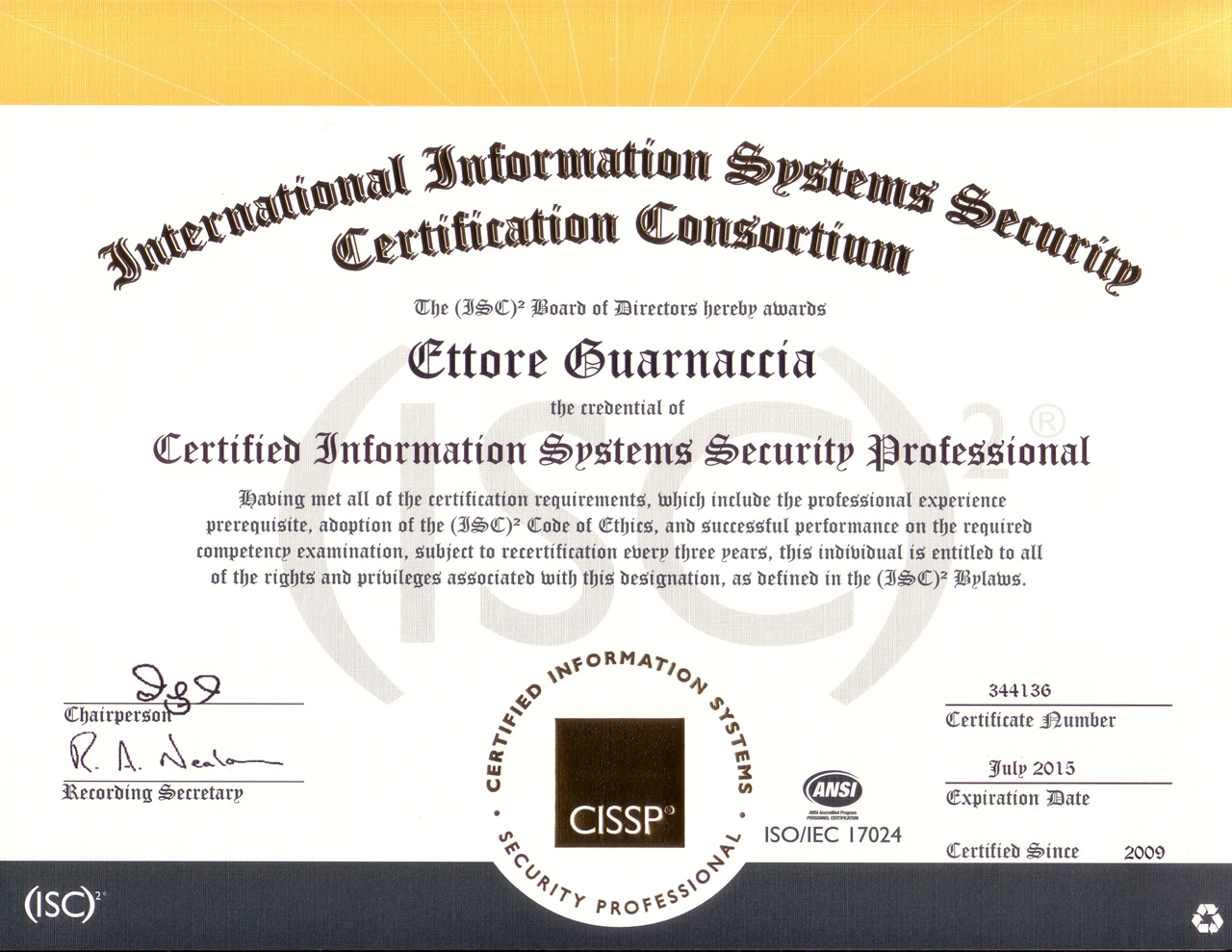 cissp security certificato sauer certified systems professional patrick