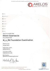 La certificazione M_o_R Foundation di AXELOS e APMG International.
