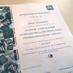 Conseguita la certificazione professionale Lead Auditor SGSI EN ISO 27001:2013