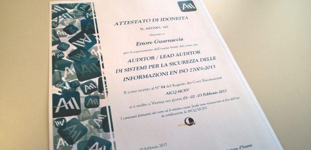 Ho conseguito lacertificazioneLead Auditor di Sistemi per la Sicurezza delle Informazioni (SGSI) EN ISO 27001:2013destinata agli auditor dei sistemi di gestione della sicurezza delle informazionie focalizzata sulla gestione, pianificazione, conduzione e implementazione di un piano […]