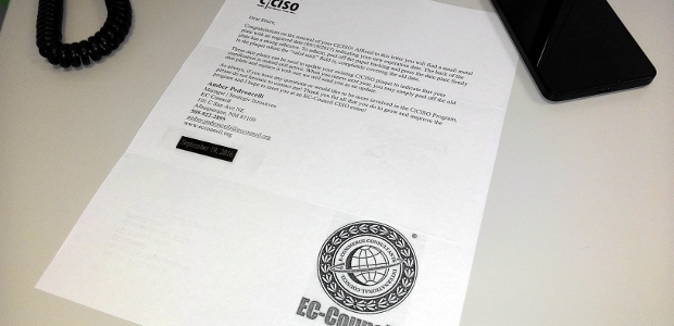 Congratulations on the renewal of your C|CISO! Affixed to this letter you will find a small metal plate with an engraved date (09/19/2017) indicating your new expiration date. Con questa comunicazione, l'istituto EC-Council di Albuquerque […]