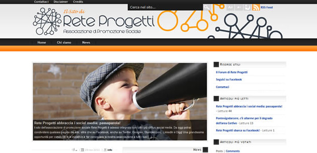 Se questo articolo ti è piaciuto, condividilo!Oggi, 23 novembre 2011, è stato ufficialmente lanciato il sito web dell'associazione di promozione sociale Rete Progetti. Il sito è stato interamente prodotto dal sottoscritto, come riportato nei credits. […]